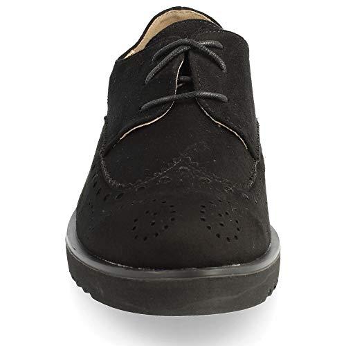 con con Punta Goma Cordones Redonda Piso Calada Zapato Negro de el de 6qYwA