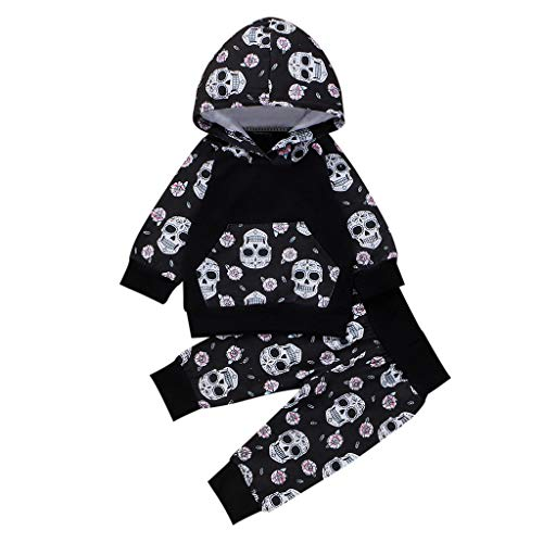 Toddler Kids Outfits,Crytech Long Sleeve Skull Print Hoodie Shirt with Pocket Hooded T-Shirt Top and Elastic Pants for Baby Boy Girls Halloween Costume Casual Clothes (12-18 Months, Black)