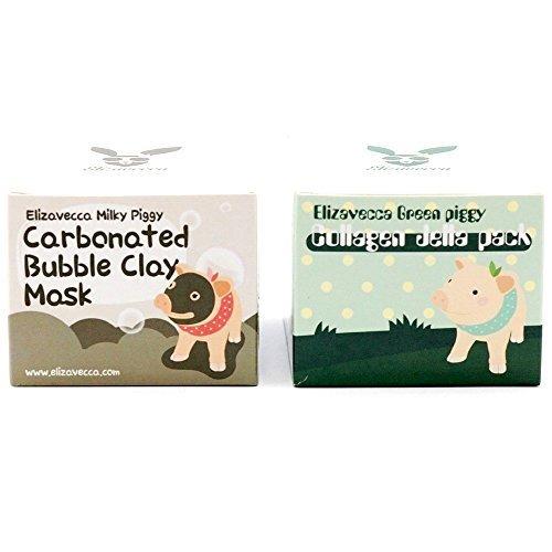 Elizavecca Green Piggy Collagen Jella Pack 100g + Milky Piggy Bubble Clay Mask 100g (Total 2pcs)