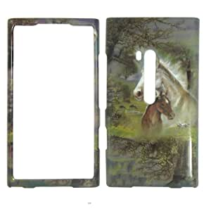 NOKIA LUMIA 900 AT&T - Horses & Trees Colorful Painting Hard Case, Cover, Snap On, Faceplate