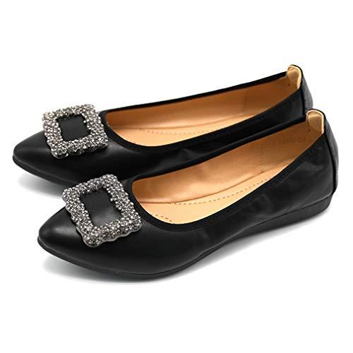 Lambskin Platforms Leather (CYBLING Womens Ballet Flats Pointy Toe Rhinestone Buckle Casual Slip On Walking Shoes)