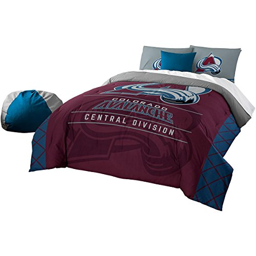 The Northwest Company Officially Licensed NHL Colorado Avalanche Draft Full/Queen Comforter and 2 Sham Set, Red/Blue