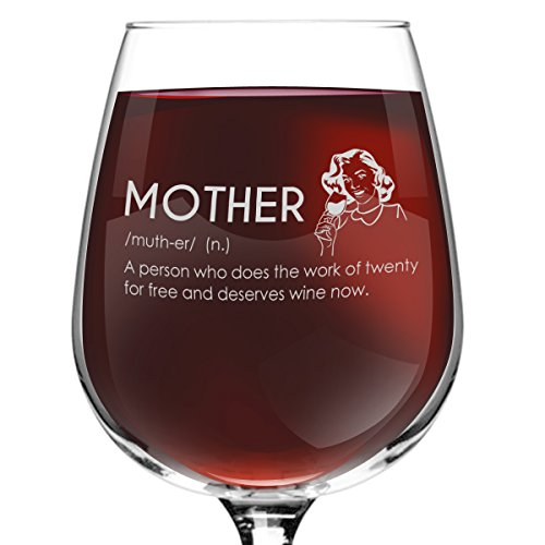 Mother Definition Novelty Wine Glass- 12.75 oz. - Humorous Red or White Wine Glass - Made in USA (Couples To Be For Halloween)