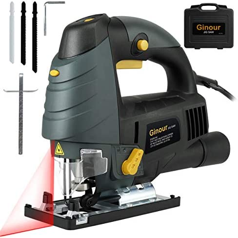Ginour 7.0A 3000SPM Jigsaw with Laser Guide LED, 6-level Variable Speed, Bevel Angle 0 -45 , Jig Saw Set With 3PCS Blades, Scale Ruler and Carrying Case