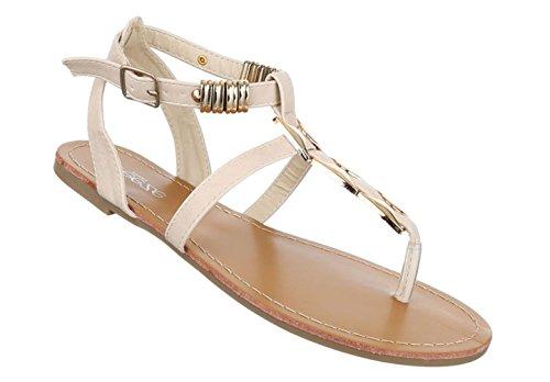 Damen Sandalen Schuhe Sommerschuhe Strandschuhe Zehentrenner Weiß Beige 36 37 38 39 40 41 Beige