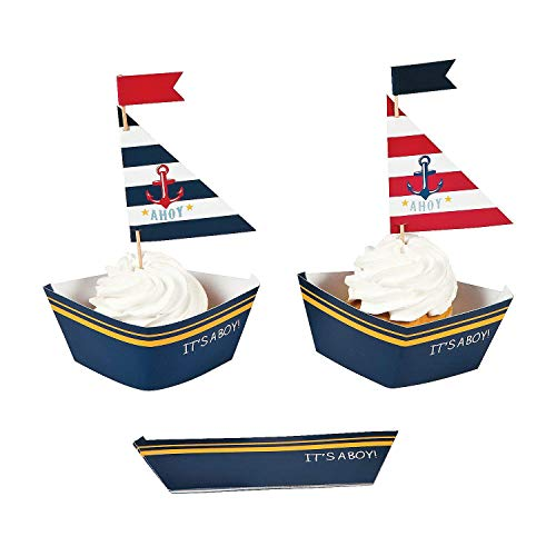Nautical Baby Boy Shower Cupcake Collars and Picks Decoration Set - 50 units ()
