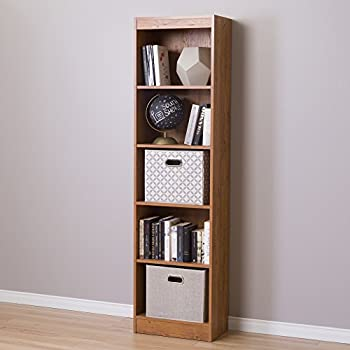 Delightful South Shore Axess 5 Shelf Narrow Bookcase, Country Pine