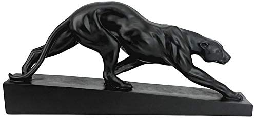 Art Deco Matte Ebony Finish Panther On the Prowl Statue Predator Sculpture