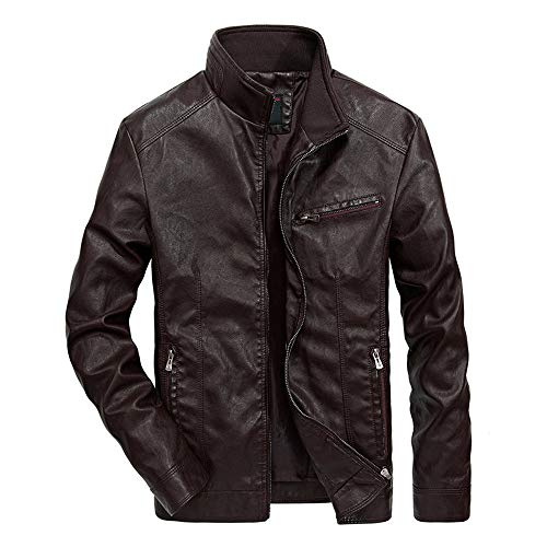 YOcheerful Men's Leather Jacket Bomber Jacket Performance Cool Trucker Jacket Trendy Business Formal Office Work ()