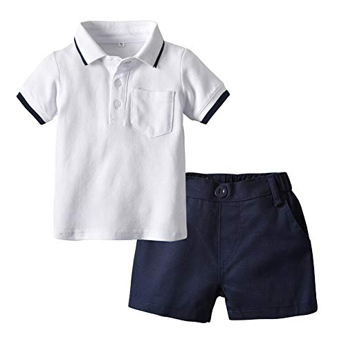 Baby Toddler Boy Short Sleeve Polo Tee T Shirt Short Pans Cotton School Party Outfit Set White
