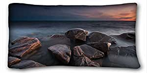 Soft Pillow Case Cover ( Landscapes sweden varmland takene sea sunset stones ) Rectangle Pillowcase 20x36 inches (one side) suitable for Queen-bed PC-White-21778