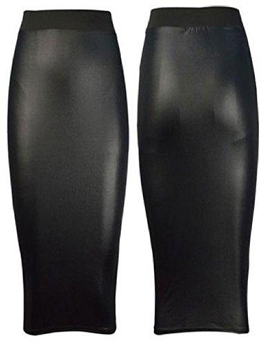 Pure Fashion-Falda Mi-Cera larga para mujer formal S S Designs-Look PVC oficina de piel húmeda PVC/ PU Leder Look Matt Glänzend Kunstleder