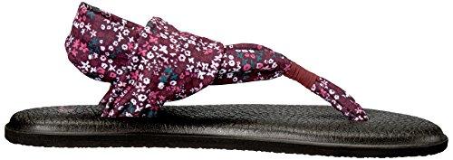 Sanuk Damen Yoga Fronde # 2 Impressions Zehentrenner Ravissement Florale De Rose Écervelé