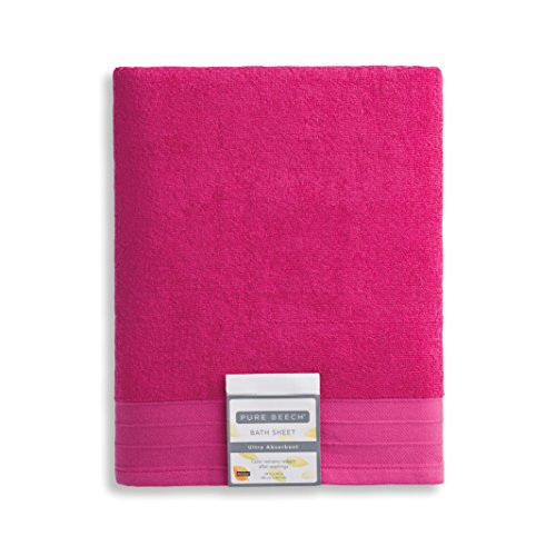Pure Beech 3-Piece Bath Towel Set - Cotton Modal Blend - Hotel Quality, Bright, Super Soft and Highly Absorbent - Raspberry