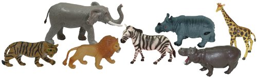 Miniland Miniland25123 Wild Animal Figures in Jar with Handle (7-Piece) ()