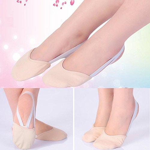 semelles Ballerine De Femmes Chaussures Tan Pointe Toile Danse Filles Demi HSfnqtw5