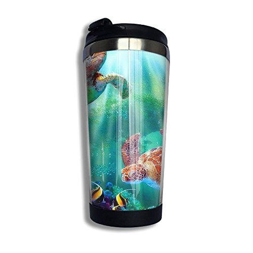 Tea Cup Sea Turtle Paradise Coffee Travel Mug 13.6oz Water Bottle Thermos Stainless Steel Flask