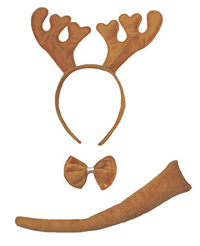 Petitebella Headband Bowtie Tail Unisex Children 3pc Costume (Brown Xmas Reindeer)]()