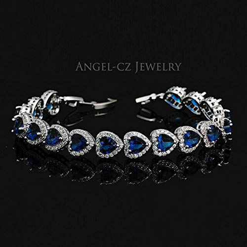 Women's Austrian Elegant Blue Heart Crystal Sterling Silver Link Bracelets | Shiny Jewelry