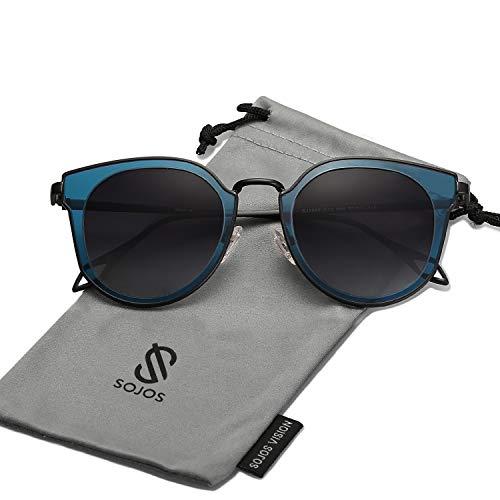 Lenses Grey Yellow Frame - SOJOS Fashion Polarized Sunglasses for Women UV400 Mirrored Lens SJ1057 with Black Frame/Grey Polarized Lens