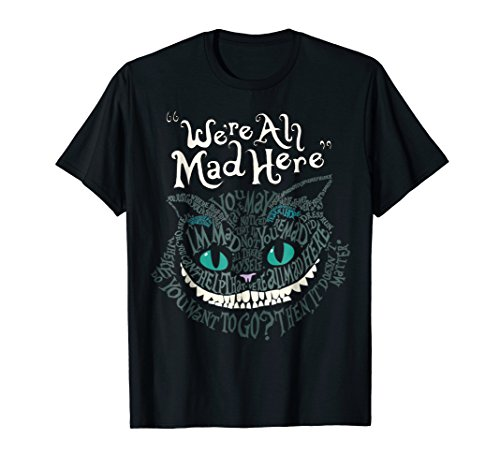 Mad Cheshire Cat - Mens Cheshire Alice Cat We're All Mad Here Wonderland T-Shirt 2XL Black