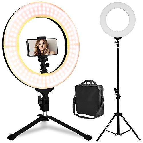 LED Ring Light - 14Inch 3200K/5600K Bicolor Dimmable Lighting Kit with 70 Inch Light Stand & Table Top Stand, Superbright & Durable, Adjustable Angle and Easy Assembly for Studio Video Selfie YouTube (Light Chat)