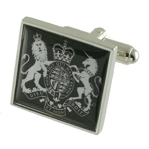 United Kingdom Coat Arms Cufflinks Solid Sterling Silver 925 with optional engraved message box by Select Gifts