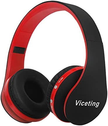 Wireless Foldable Headphones Bluetooth Over-Ear Stereo Earbuds Wired HeadsetsBuilt-in Microphone3.5mm Jack Fits iPhone//LG/iPad/PC/TVCarrying Case by Viceting (Black RED)