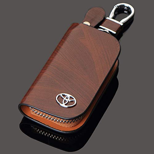 ESMPRO Toyota Brown Leather Car Key Case Coin Holder Zipper Remote Wallet Key Chain Bag