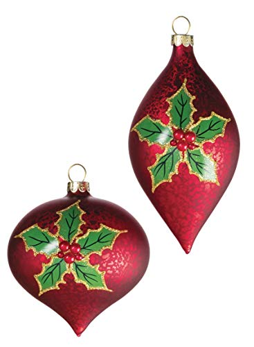 Sullivans Holly Leaf Onion and Drop Christmas Ornaments, Set of 6 in 2 Styles, 4.5