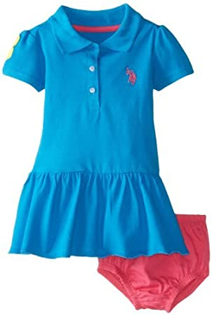 U S Polo Assn Baby Girls Infant Solid Baby Pique Scalloped Hem