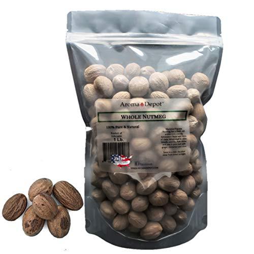 100% Natural Premium Whole Nutmeg Seasoning Spice Kosher Non-GMO Free (1 Lb)