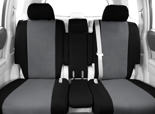 CalTrend Front Row 40/20/40 Split Bench Custom Fit Seat Cover for Select Chevrolet Silverado/GMC Sierra Models - DuraPlus (Light Grey Insert with Black Trim) -