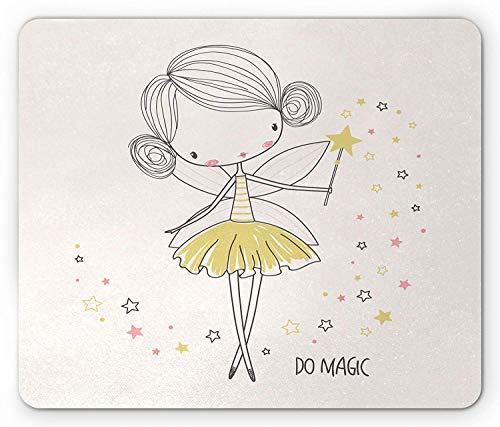 (Quote Mouse Pad, Fairy Girl with Wings and Star Wand Do Magic Lettering Nursery Girls, Standard Size Rectangle Non-Slip Rubber Mousepad, Baby Pink Yellow and Pink)
