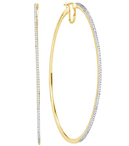 10K Yellow Gold Two Double Sided Front and Back Micro Pave Set Round Diamond Hoop Earrings with Hinge Closure - (3/4 cttw) by Sonia Jewels