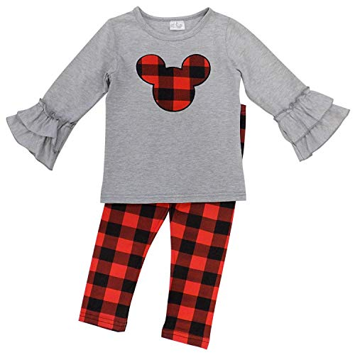 So Sydney Girls Toddler Pink or Red Minnie Mouse Kids Boutique Dress or Outfit (XS (2T), Buffalo Plaid Mouse)