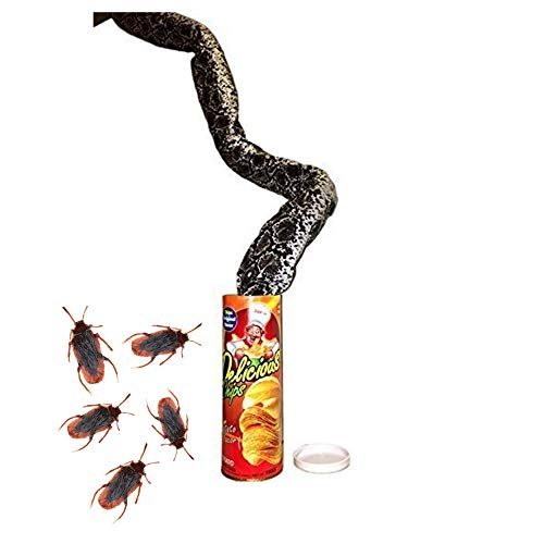 B&E Life The Potato Chip Snake Can Jump Spring Snake Toy Gift April Fool Day Halloween Party Decoration Jokes in A Can Gag Gift Prank Large Size (Cockroach)]()
