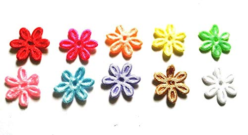 100 Pcs small stain Flower Padded Appliques Mix Colors Size 17 Mm