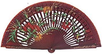 Abanico de Madera Pintado a Mano Calado Flores Silvestres Color ...