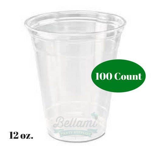 Premium Clear Plastic Party Cups Disposable 12 oz. Perfect For Soda,Cocktails, Beer, and Other Cold Beverages- Weddings, Holidays, Events (100)