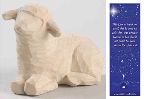 Resting White Sheep Individual Willow Tree Nativity Figurine with Nativity Bookmark