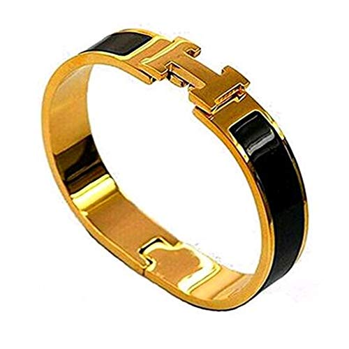 Buckle Bangle Bracelet 12MM Color Gold/Black by Tangbr
