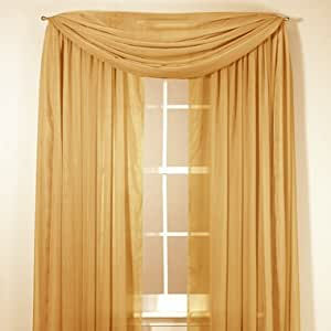 Elegance Sheer Voile 84 Inch Panel- Gold