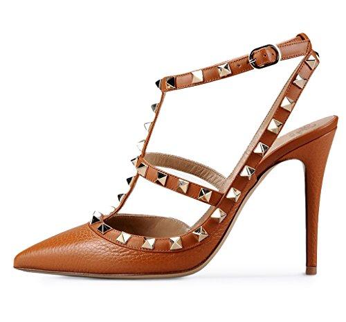 Zapatos correa Q mujer tobillo de Amy marrón con 5OPzz