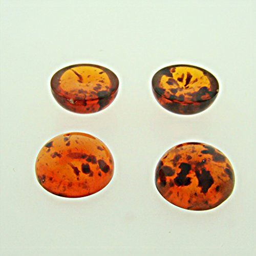 Glass Shiny Amber Tortoise (13mm. TORTOISE AMBER SPECKLE SHINY ROUND CABOCHONS - Lot of 48)