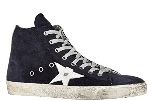 Golden Goose chaussures baskets sneakers hautes homme en daim francy blu
