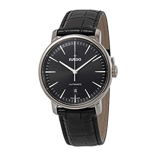 Rado DiaMaster XL Black Dial Automatic Men's Leather Watch R14074175 (Leather Men Watch Rado)