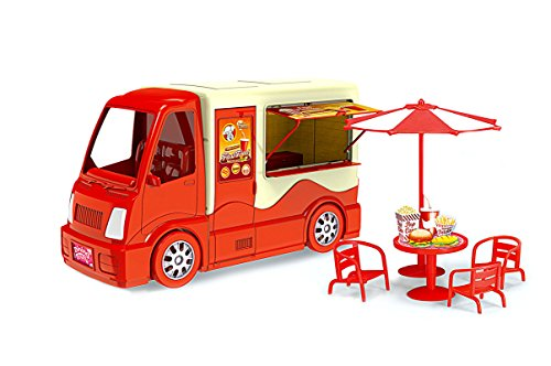 PlayMarket Toys, Dazzling Toy Fast Food Truck Set (Red) Made of Solid Plastic, Model# 1155-3, 22 Piece