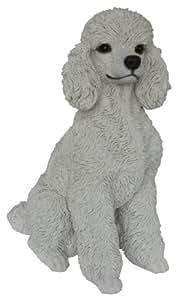 Vivid Arts blanco sentado perro caniche de resina