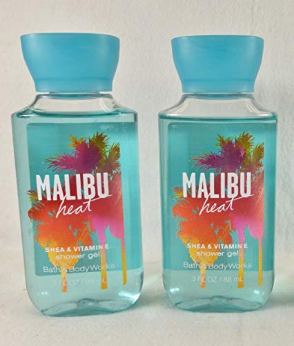 (Bath & Body Works Signature Collection, MALIBU HEAT Shower Gel, 3 Fl. Oz. (Travel Size), Value Package of 2)